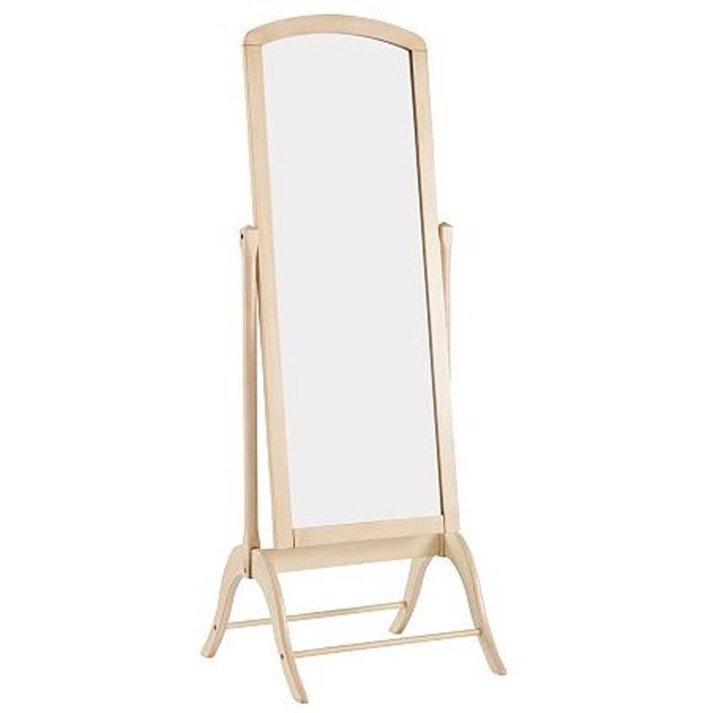 Krémové stojacie zrkadlo s rámom z kaučukového dreva Støraa Charles, výška 180 cm
