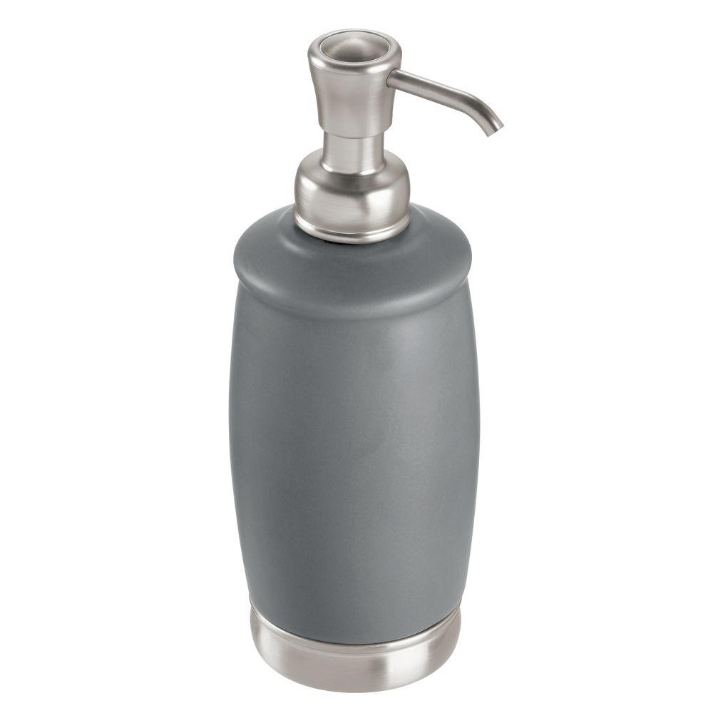 Sivá pumpička z keramiky na mydlo iDesign York