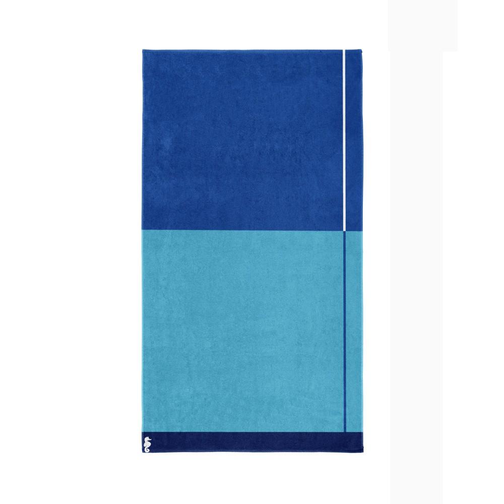 Modrá bavlnená osuška Seahorse Block, 180×100cm