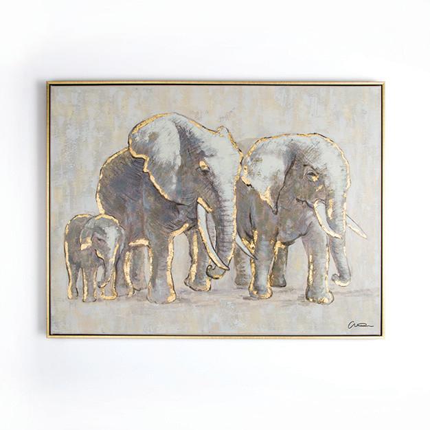 Ručne maľovaný obraz Graham & Brown Elephant Family, 80 x 60 cm