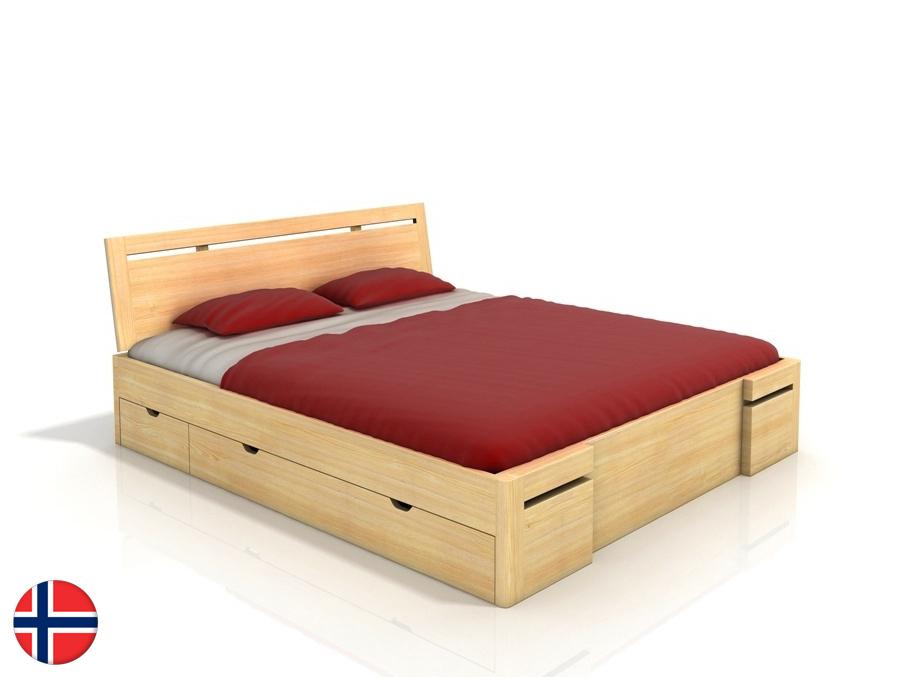 Manželská posteľ 160 cm Naturlig Bokeskogen High Drawers (borovica) (s roštom)