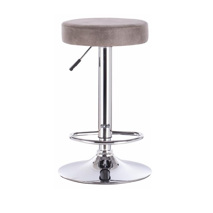 TEMPO KONDELA Barová stolička, sivohnedá látka s efektom brúsenej kože, GALVIN