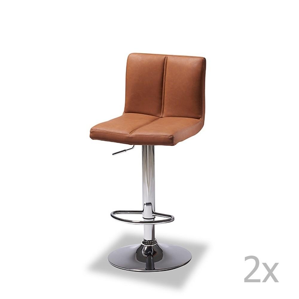 Sada 2 barových svetlohnedých stoličiek Knuds Coco