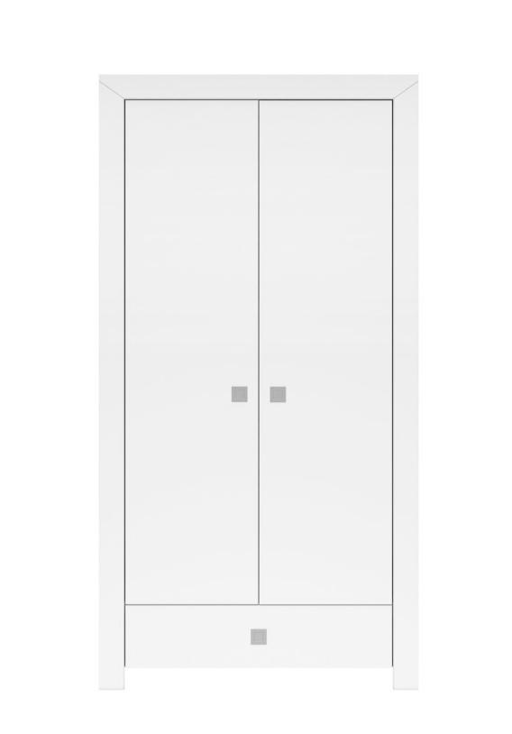 Šatníková skriňa Mezo SZF2D1S / 19 / 10   Farba: Biela / biely lesk