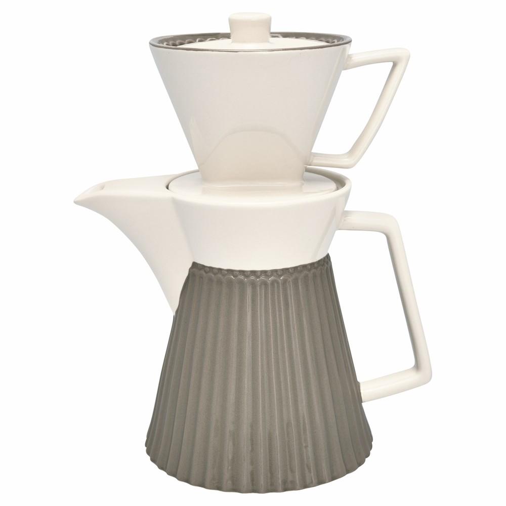Šedá kameninová kanvice na kávu s filtrom Green Gate Alice