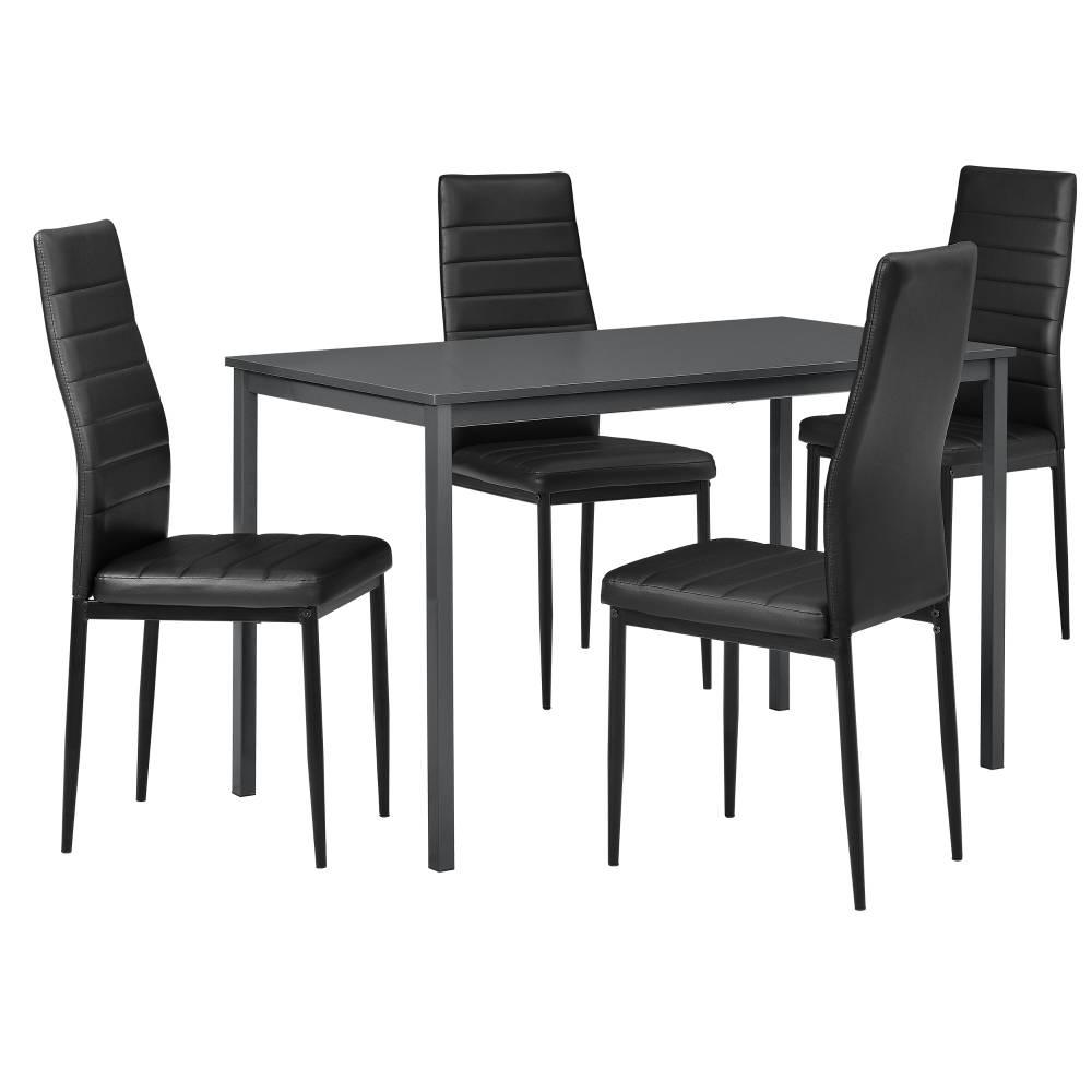 [en.casa]® Štýlový dizajnový jedálenský stôl (120 x 60 cm) - so 4 elegantnými stoličkami (čierne)
