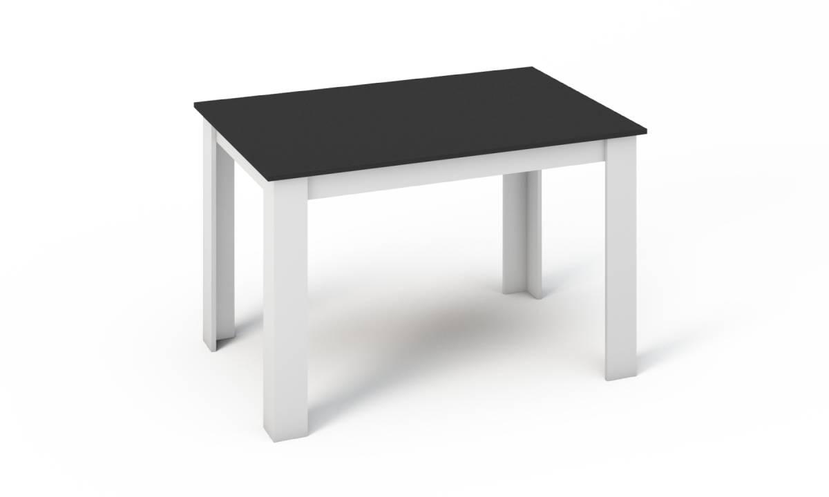 KONGI jedálenský stôl 120, biela/čierna