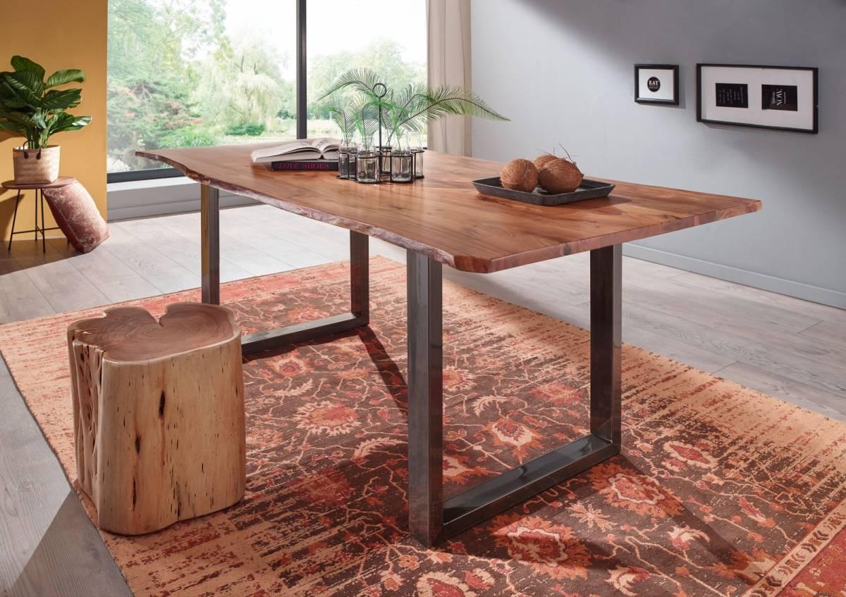 Bighome - METALL Jedálenský stôl s hnedými nohami 140x90, akácia, prírodná