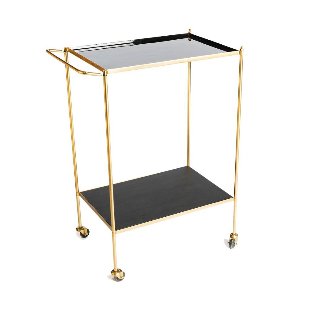 Servírovací stolík s kovovou konštrukciou v zlatej farbe Simla Wheel