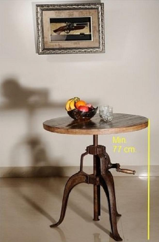 Masiv24 - INDUSTRY okrúhly stôl #21, liatina a staré drevo