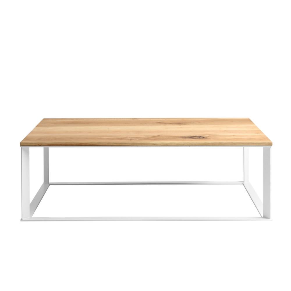 Konferenčný stolík s bielou podnožou a doskou z masívneho dubu Custom Form Skaden, šírka 140 cm