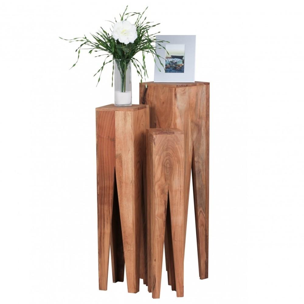 Sada 3 odkladacích stolíkov z masívneho akáciového dreva Skyport KADA