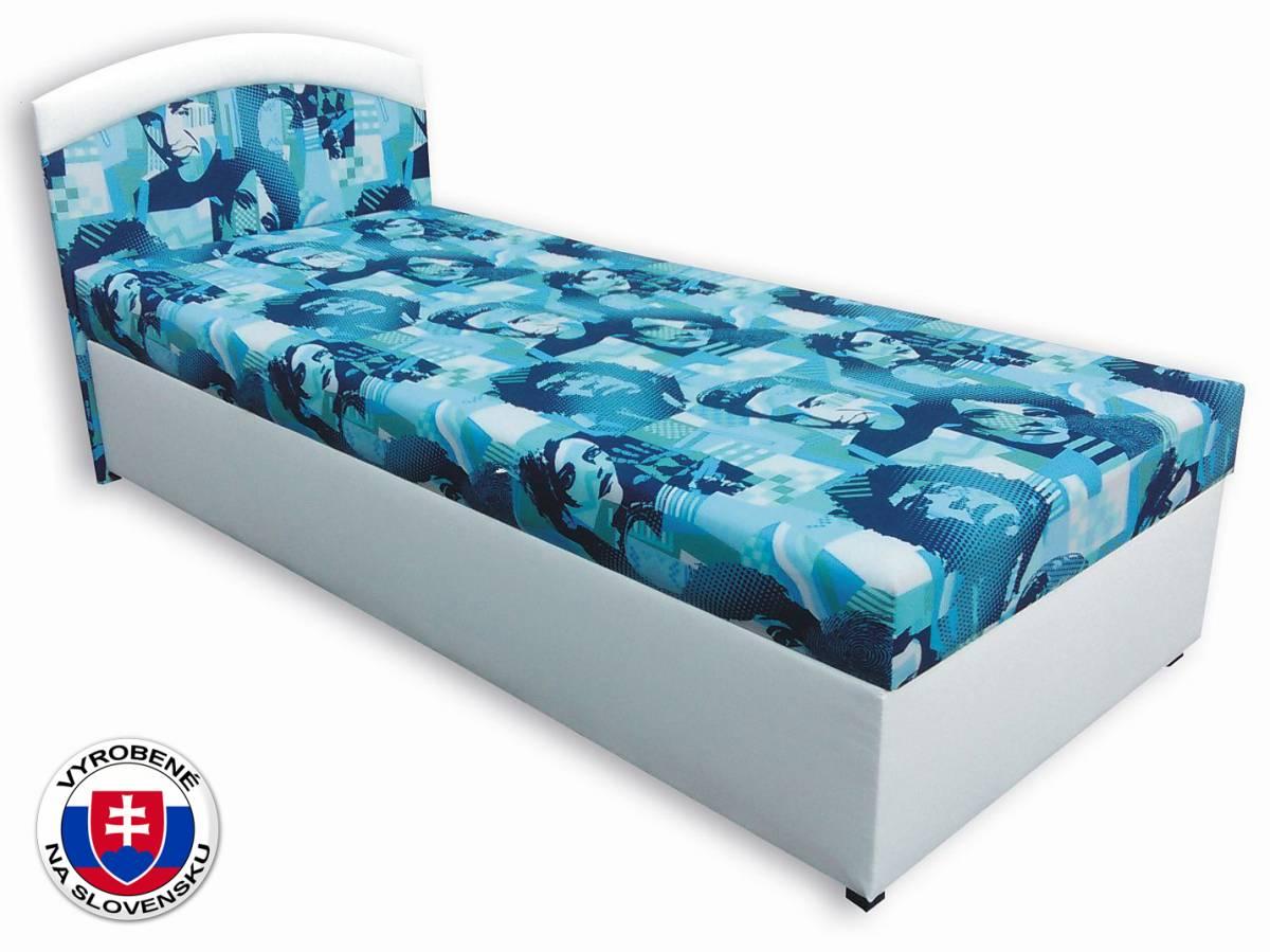 Jednolôžková posteľ (váľanda) 90 cm Elvis (Biela koženka + Elvis 2)