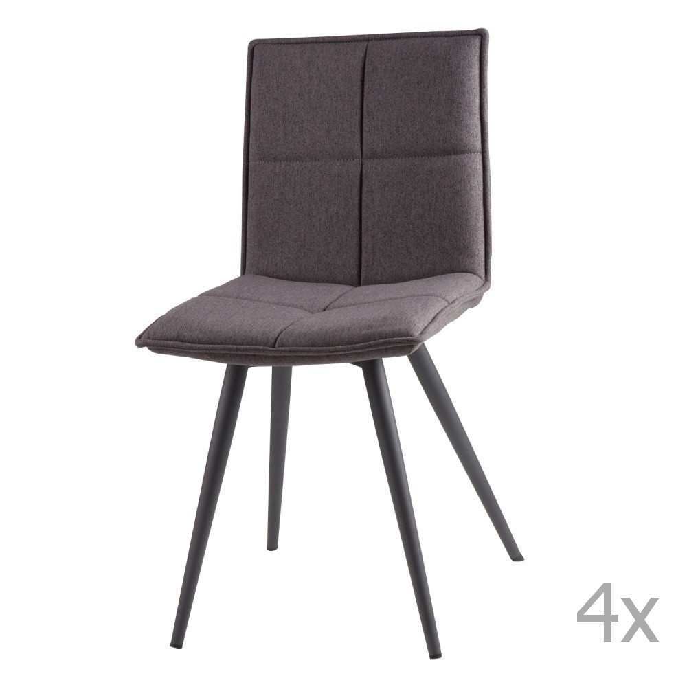 Sada 4 svetlosivých jedálenských stoličiek sømcasa Zoe