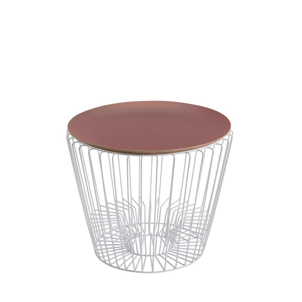 Odkladací stolík z lakovaného kovu s ružovou doskou HARTÔ Ernest, Ø50 cm
