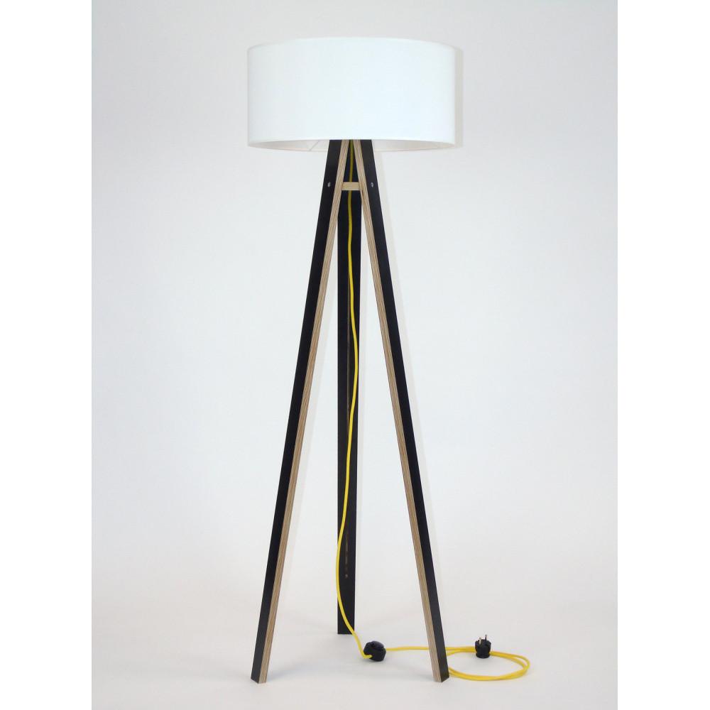 Čierna stojacia lampa s bielym tienidloma žltým káblom Ragaba Wanda