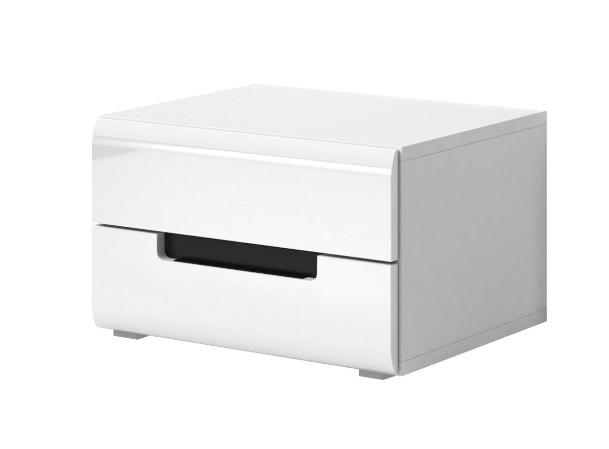 Nočný stolík Typ 22 (biela + biely vysoký lesk)