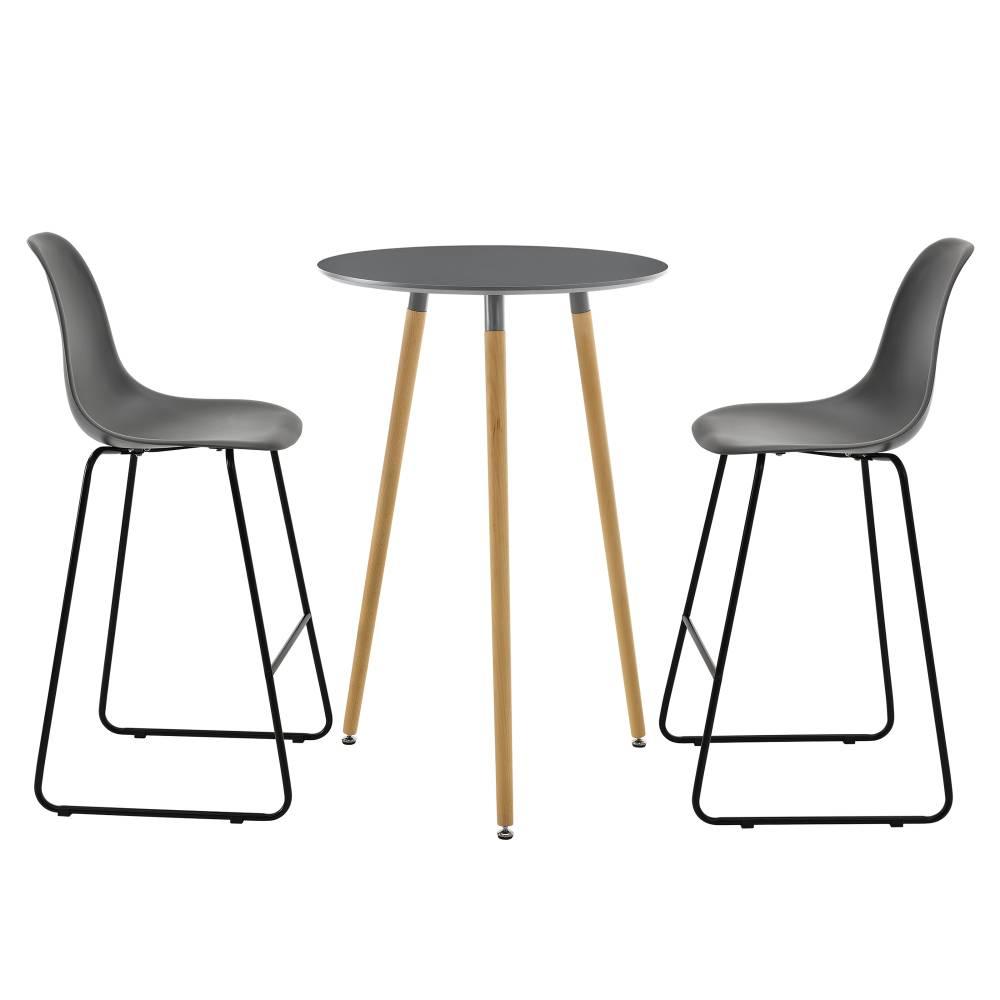 [en.casa]® Okrúhly barový stôl - Ø 70 cm + sada 2 stoličiek - tmavo sivé