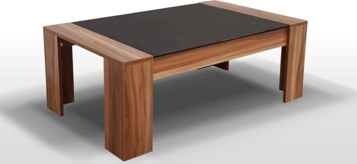 Konferenčný stolík, orech/čierne sklo, RAYMOND