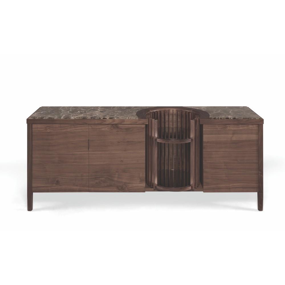 Komoda z orechového dreva s otočným barom a mramorovou doskou Wewood - Portugues Joinery Carousel