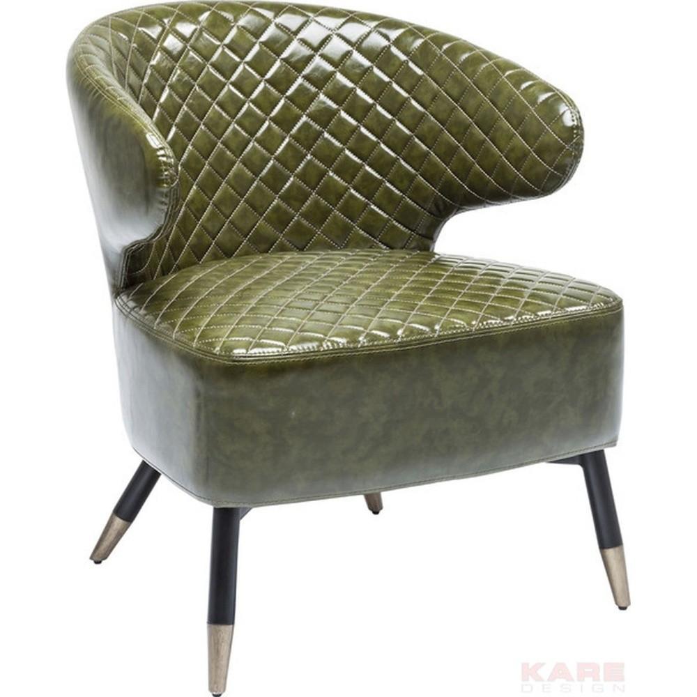 Zelené koženkové kreslo Kare Design Coctailsessel