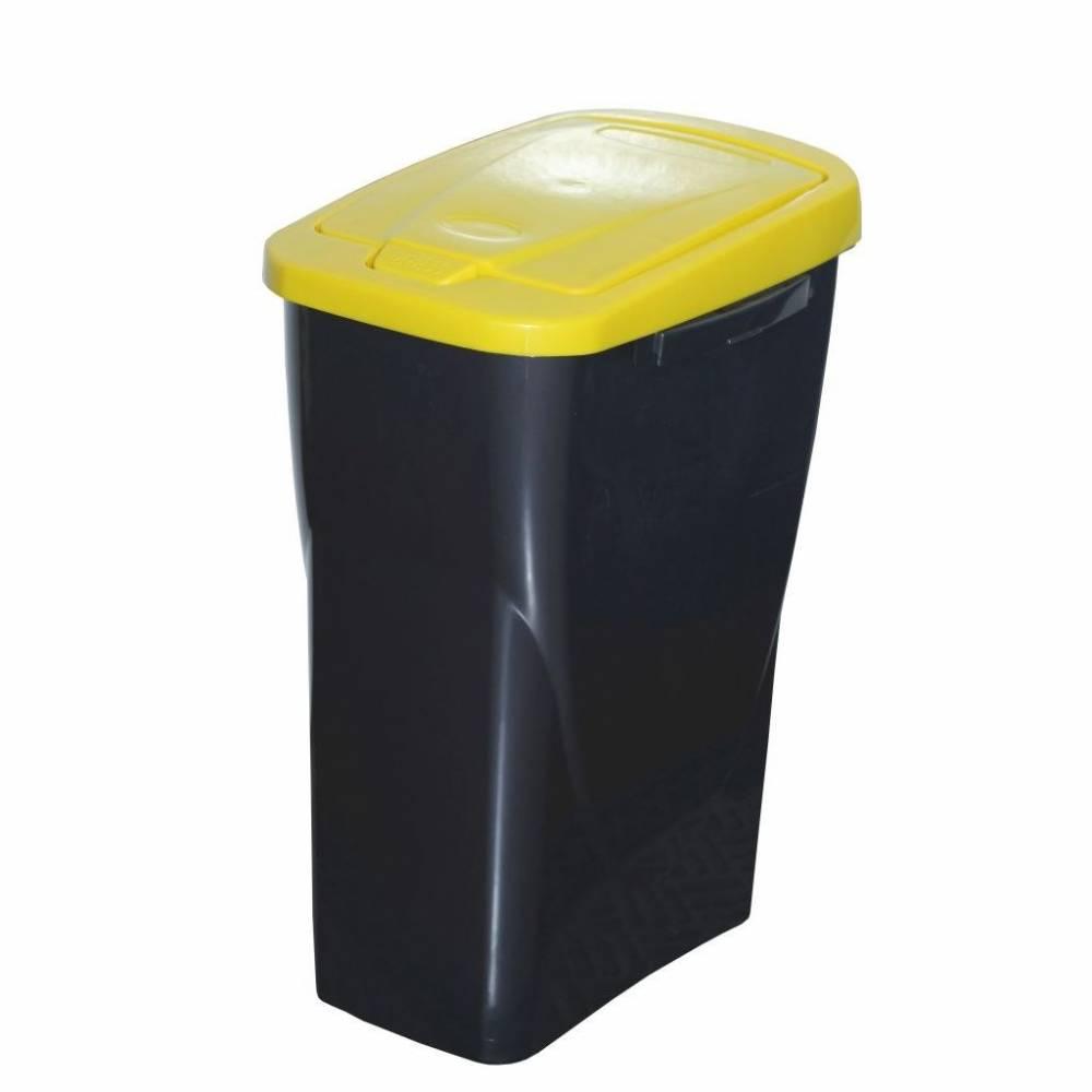 Kôš na triedený odpad 42 x 31 x 21 cm, žlté veko, 15 l
