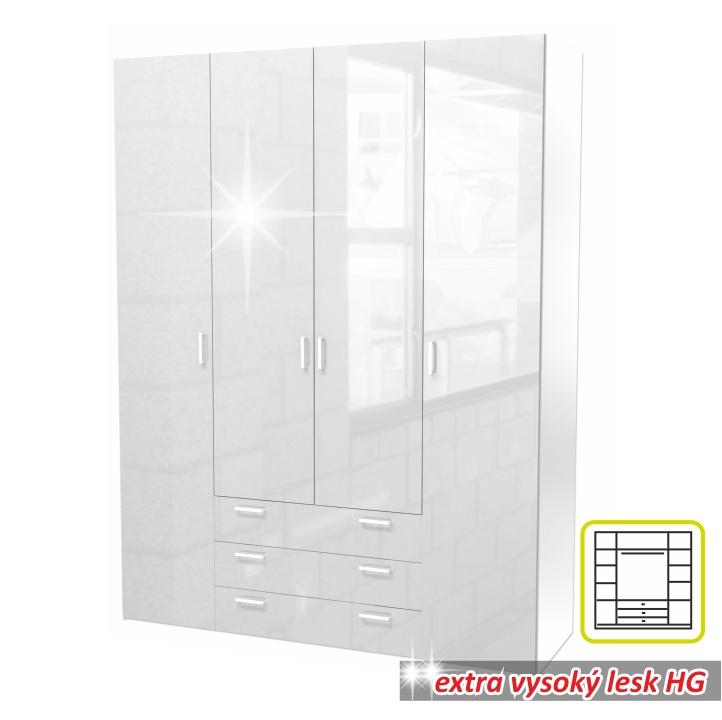 Skriňa, 4 - dverová, biela extra vysoký lesk HG, GWEN 70429
