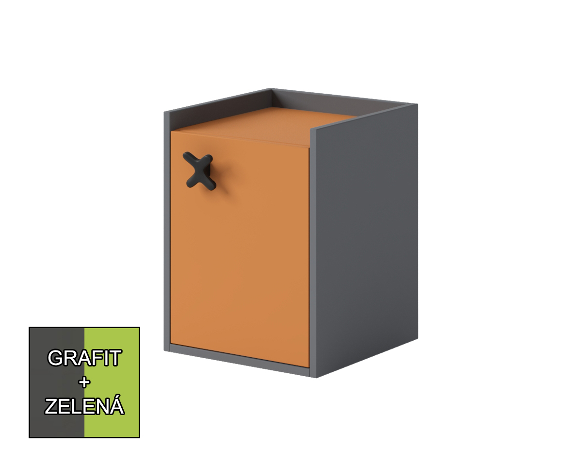 Nočný stolík Iks X-11 (grafit + zelená) *výpredaj