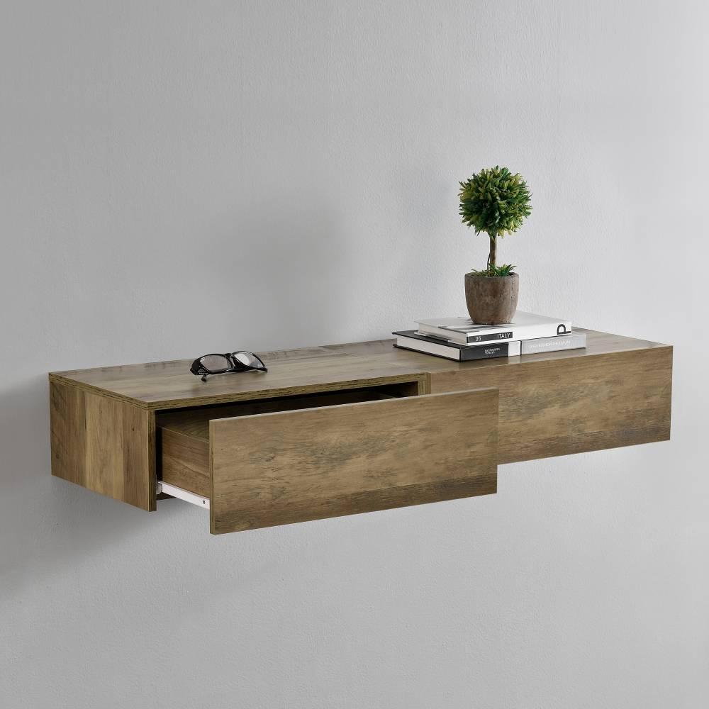 [en.casa]® Nočný stolík na stenu - dvojkombinácia - imitácia dreva