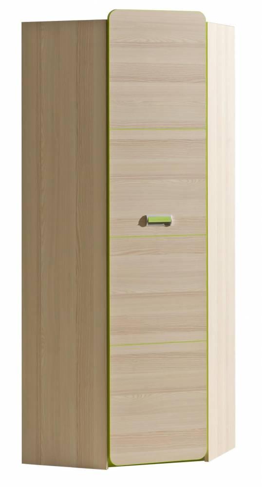 Rohová šatníková skriňa L14 (zelená)