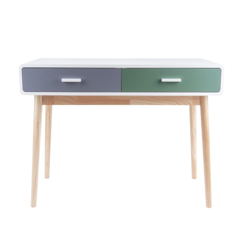 Zeleno-sivý konzolový stolík s 2 zásuvkami Leitmotiv Neat