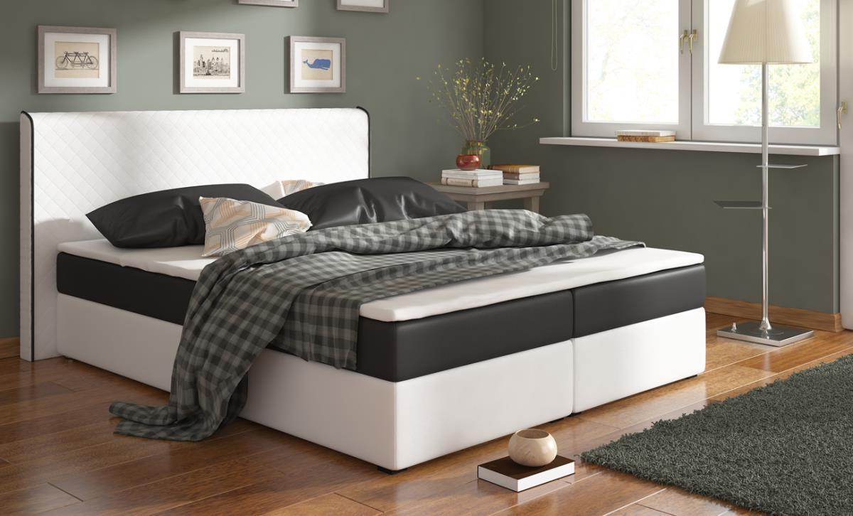 RENAR BERGAMO 180 posteľ - biela ekokoža / čierna látka