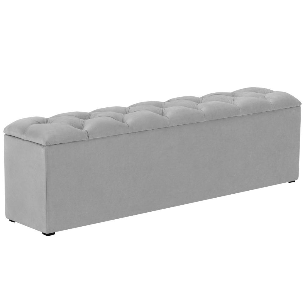 Sivý otoman k posteli s úložným priestorom Kooko Home Manna, 47 × 140 cm