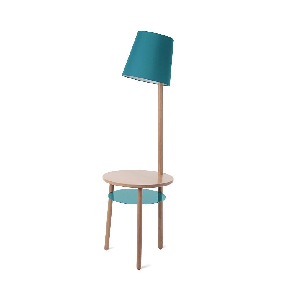Tyrkysová stojacia lampa so stolíkom HARTÔ Josette