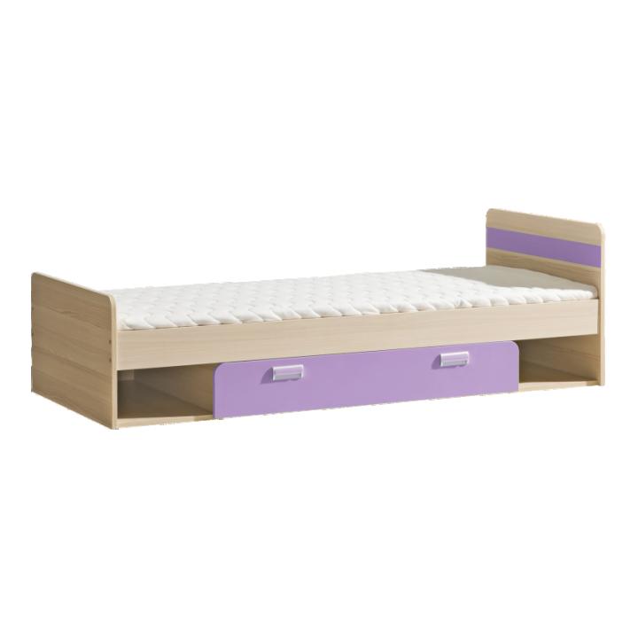 Jednolôžková posteľ 80 cm Ego L13 fialová (s roštom a matracom)