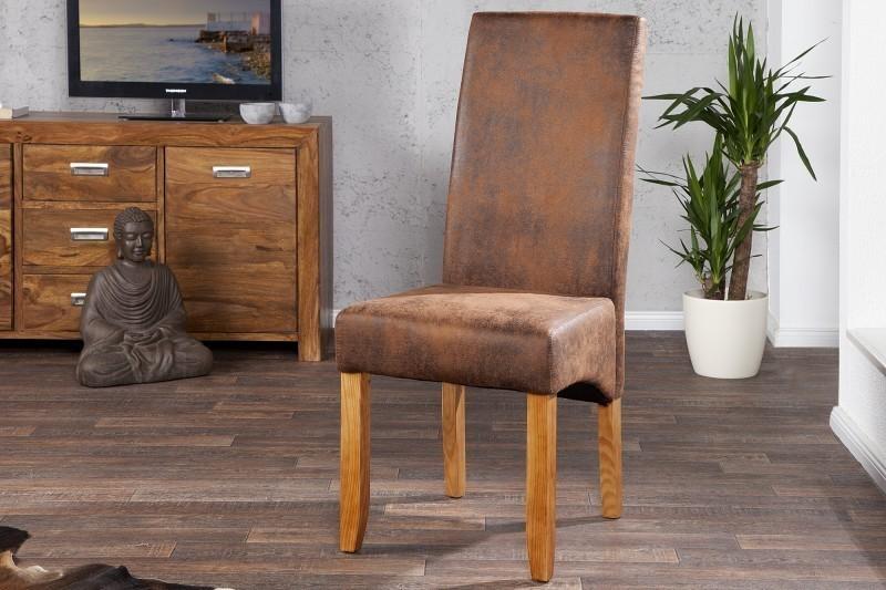 Jedálenská stolička VALENTINA Vintage Look - svetlá kávová