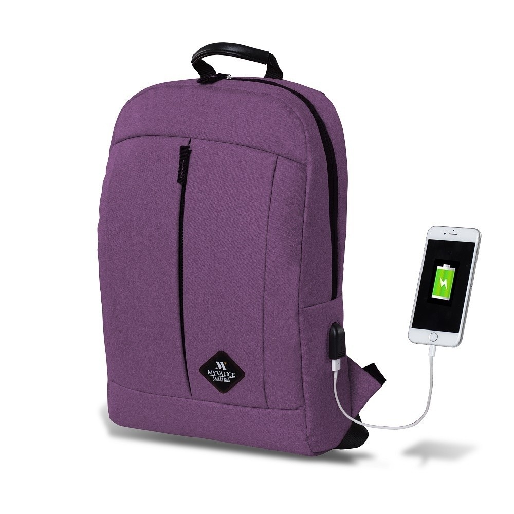 Fialový batoh s USB portom My Valice GALAXY Smart Bag