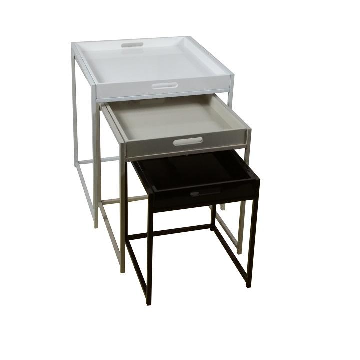 TEMPO KONDELA Set 3 príručných stolíkov, biela/sivá/čierna, BARTON
