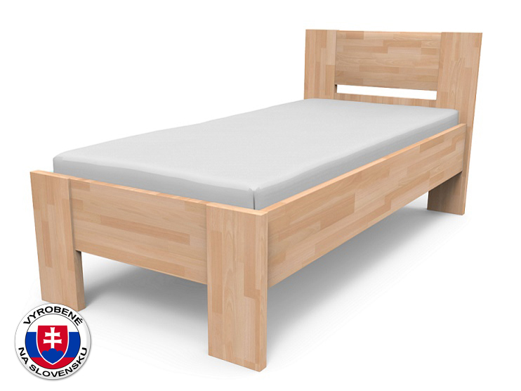 Jednolôžková posteľ 220x90 cm Nikoleta plné čelo (masív)