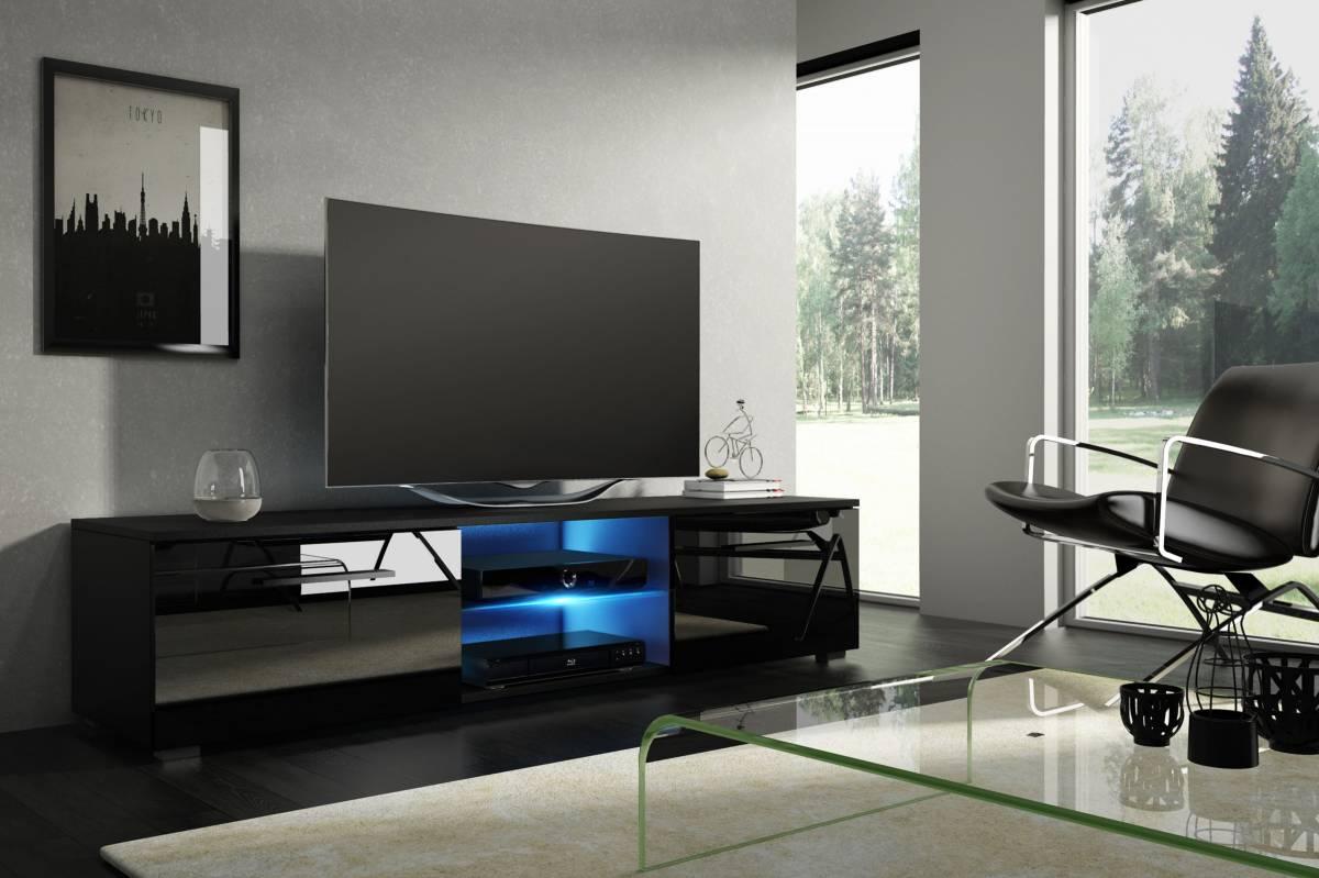 TV stolík/skrinka Moon (čierna + lesk čierny) *bazár
