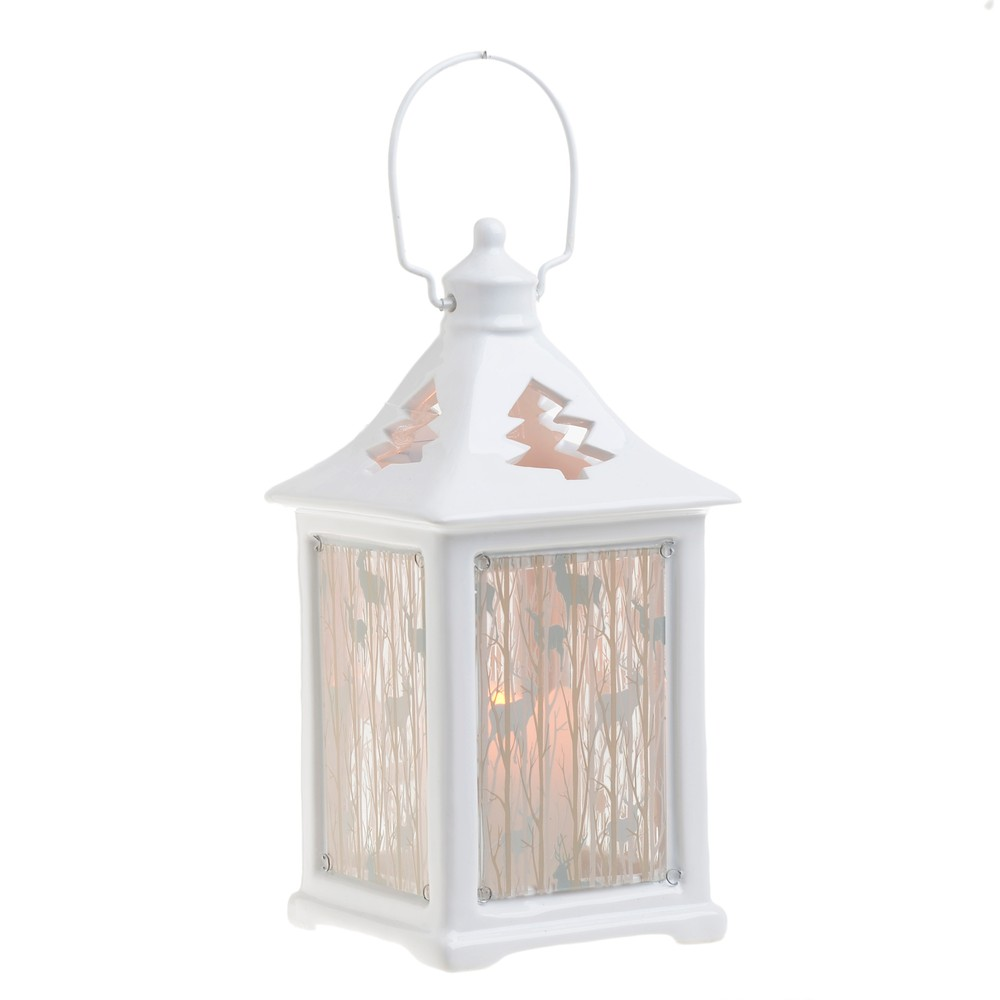 Vianočná keramická svetelná dekorácia v tvare lampáša InArt Luren