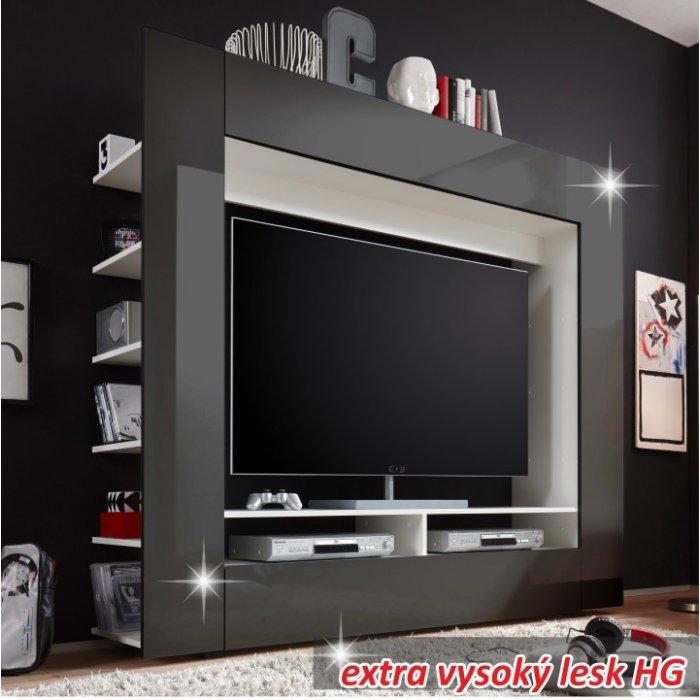 TEMPO KONDELA MEDI TV obývacia stena - čierny lesk / biela