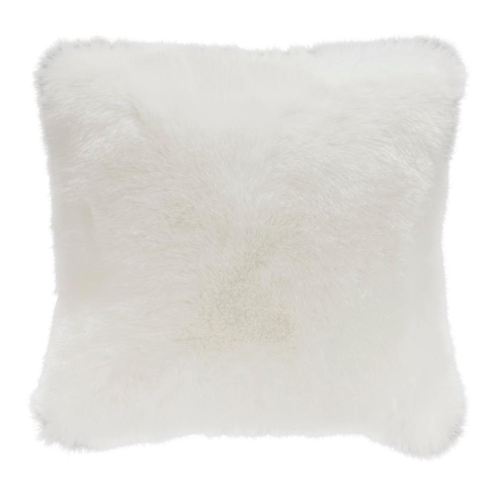 Biely vankúš z umelej kožušiny Mint Rugs, 43×43 cm