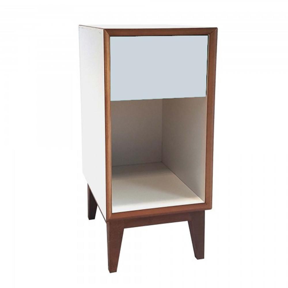 Malý nočný stolík s bielym rámoma svetlosivou zásuvkou Ragaba PIX