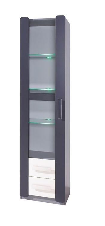Vitrína FIGARO 1D, 203x50x42 cm, grafit/biela, zelené LED