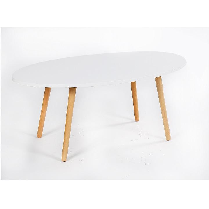 TEMPO KONDELA Konferenčný stolík, biela/natural, BAZZY 1