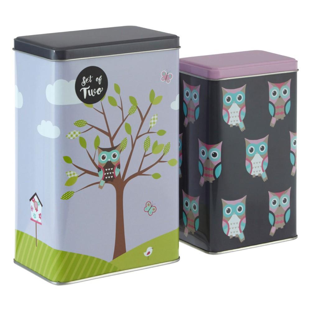 Sada 2 cínových úložných boxov Premier Housewares Barber Happy Owls