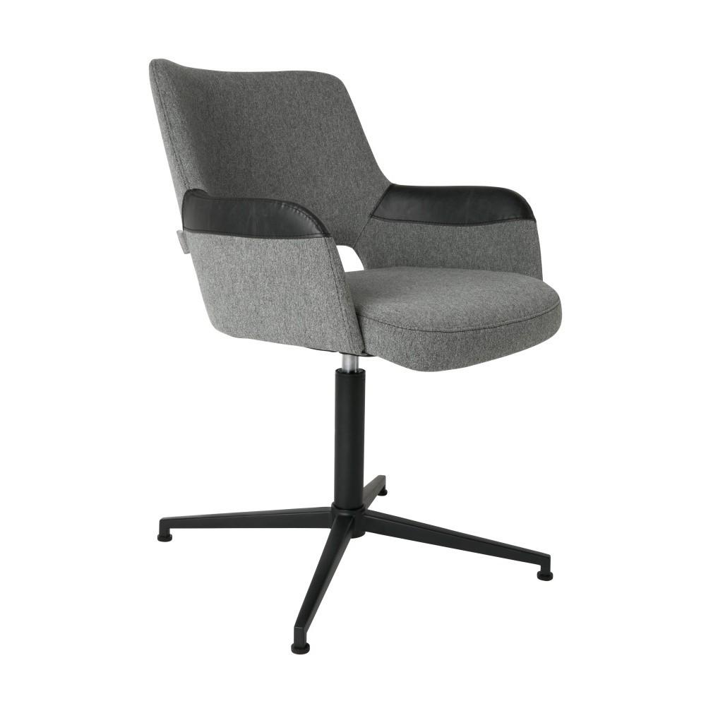 Sivá kancelárska  stolička s čiernym detailom Zuiver Syl