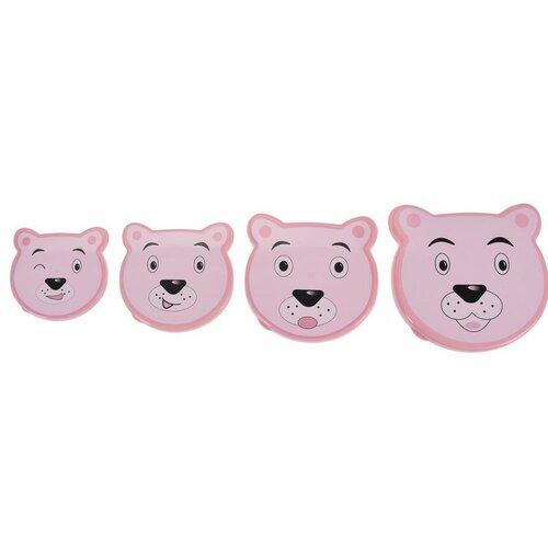 4-dielna sada desiatových dóz Bear, ružová