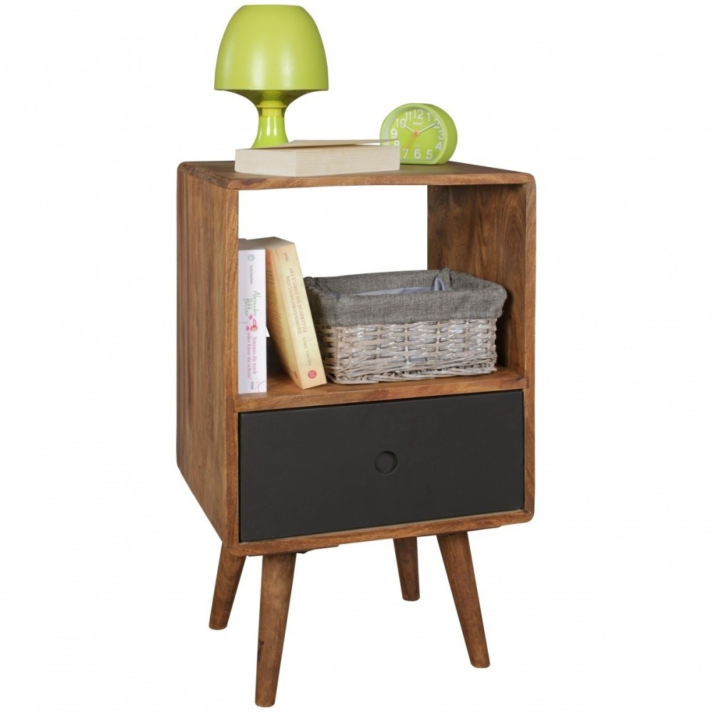 Nočný stolík s čiernou zásuvkou z masívneho sheeshamového dreva Skyport REPA